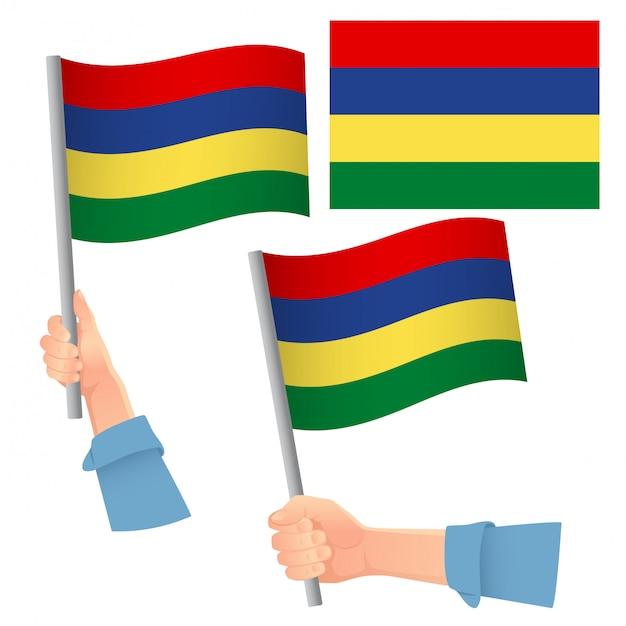 Insieme disponibile della bandiera delle mauritius Vettore Premium