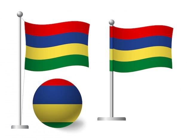 Bandiera delle mauritius su palo e icona palla Vettore Premium