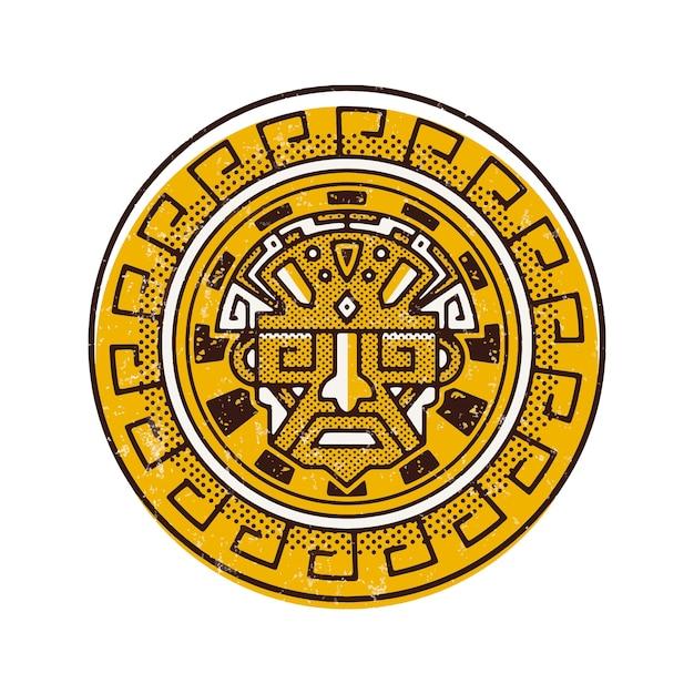 Design del logo viso antico maya Vettore Premium