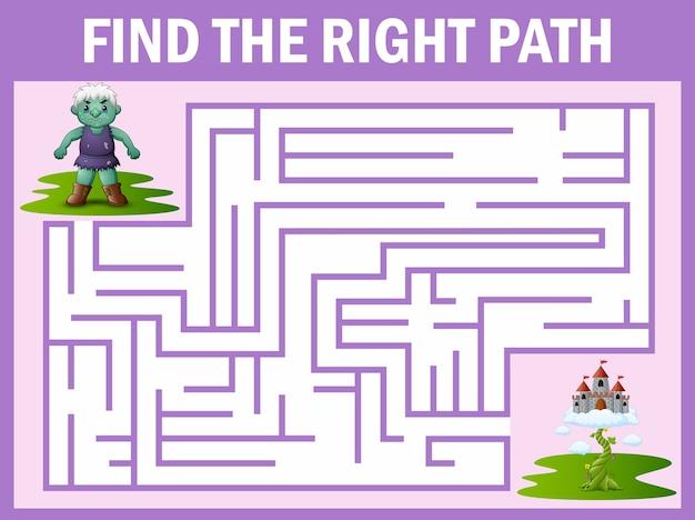 Gioco del labirinto di giganti si fa strada verso il palazzo del cielo Vettore Premium