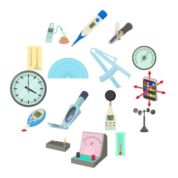Le icone degli strumenti di misura hanno messo, stile del fumetto Vettore Premium