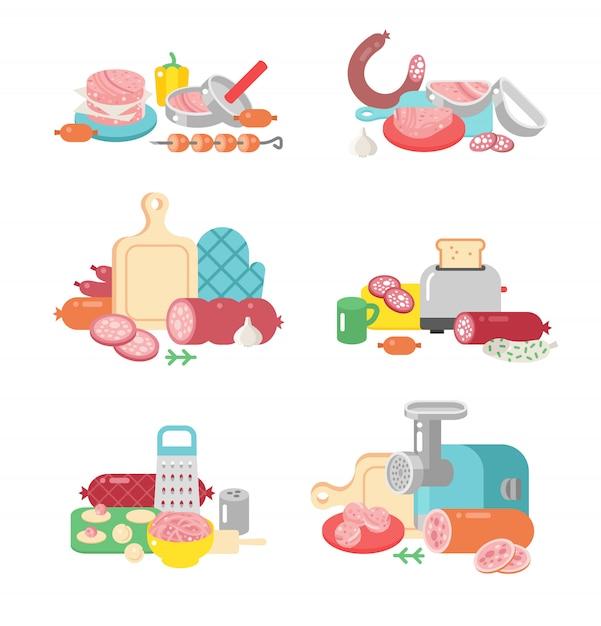 Icone piane dell'illustrazione della preparazione dell'alimento dei prodotti a base di carne. Vettore Premium