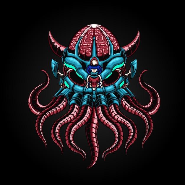 Illustrazione robotica di mecha octopus Vettore Premium