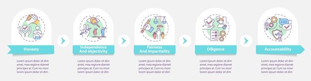 Modello di infografica etica dei media. obiettività, elementi di design della presentazione della responsabilità. visualizzazione dei dati con passaggi. elaborare il grafico della sequenza temporale. layout del flusso di lavoro con icone lineari Vettore Premium