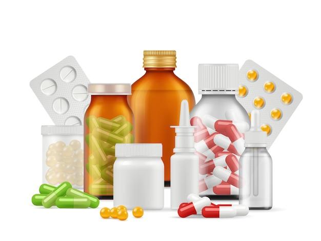 Bottiglie e pillole mediche. le compresse di farmaci antibiotici aspirina farmaci vettore realistico concetto di assistenza sanitaria Vettore Premium