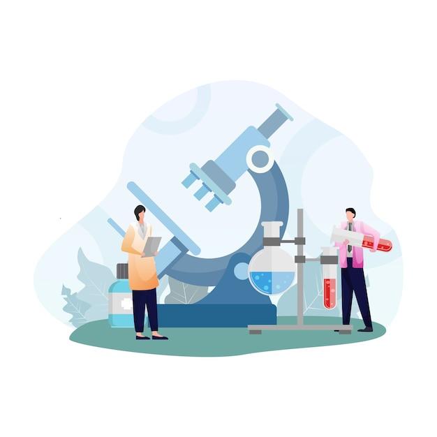 Laboratori della clinica medica con camici da laboratorio e ricerche scientifiche Vettore Premium
