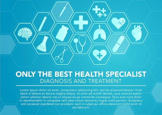 Icone mediche con sfondo blu esagonale Vettore Premium