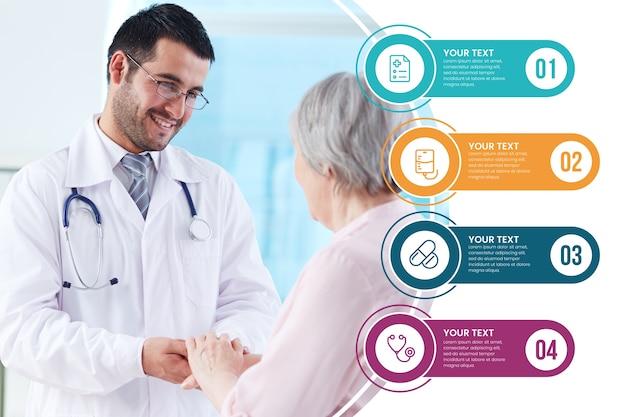 Tema di raccolta infografica medica Vettore Premium