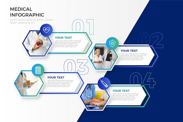 Infografica medica con foto Vettore Premium