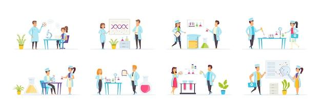 Laboratorio medico impostato con personaggi di persone in varie scene e situazioni. Vettore Premium