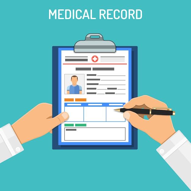 Concetto di cartella clinica Vettore Premium