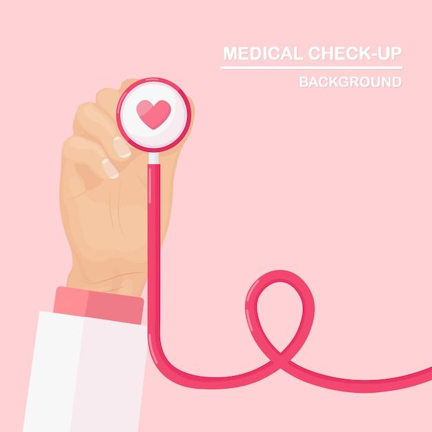 Stetoscopio medico sullo sfondo. assistenza sanitaria, ricerca del concetto di cuore. Vettore Premium