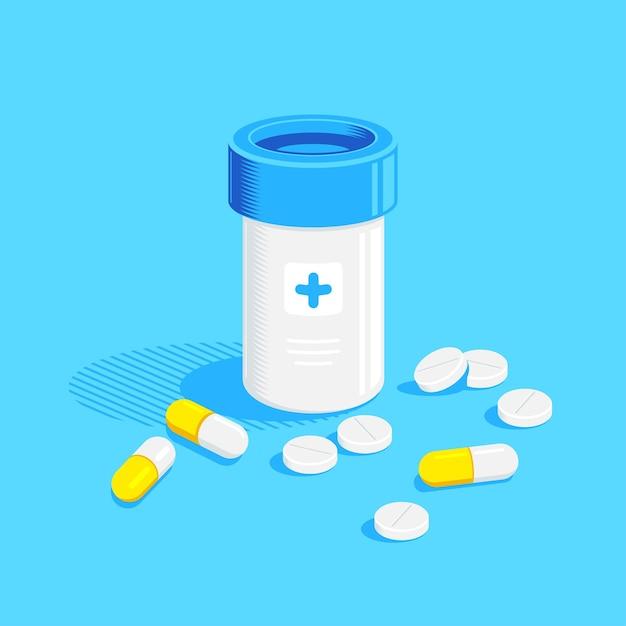 Bottiglia di medicina e pillole su sfondo blu. farmaco, concetto farmaceutico. illustrazione di stile piatto. Vettore Premium