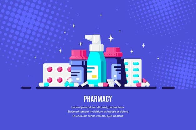 Bottiglie e pillole della medicina su priorità bassa blu. farmaco, concetto farmaceutico. illustrazione di stile piatto. Vettore Premium