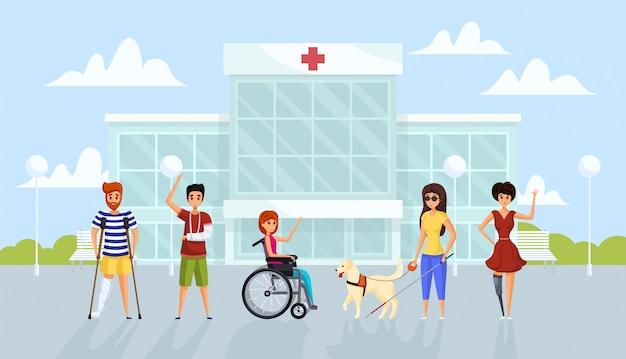 Medicina, disabilità, concetto di assistenza sanitaria Vettore Premium