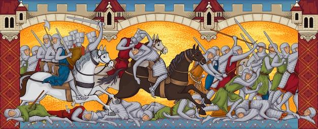 Battaglia medievale.manoscritto antico.battlefild.knights attack.miniatura libro vecchio stile. Vettore Premium
