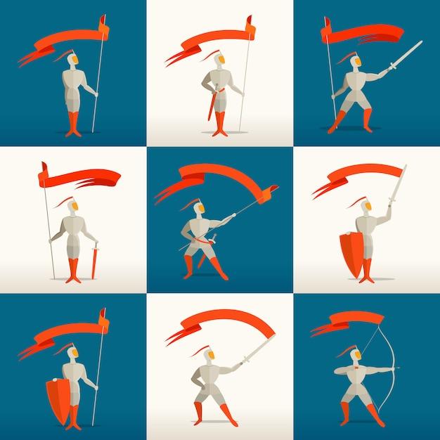 Cavalieri medievali con lancia, spada, scudo, arco e bandiera, banner Vettore Premium