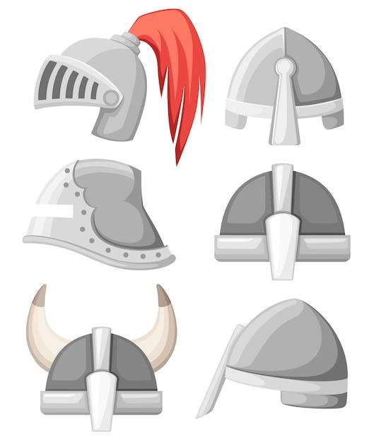 Collezione di elmi da cavaliere medievali in metallo. armatura color argento. guerriero, cavaliere, gotico, logo normanno, emblema, simbolo, mascotte dello sport. illustrazione su sfondo bianco. Vettore Premium