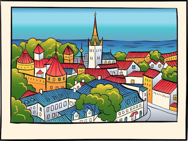Città vecchia medievale, chiesa battista di sant'olaf e mura della città di tallinn in stile schizzo. Vettore Premium