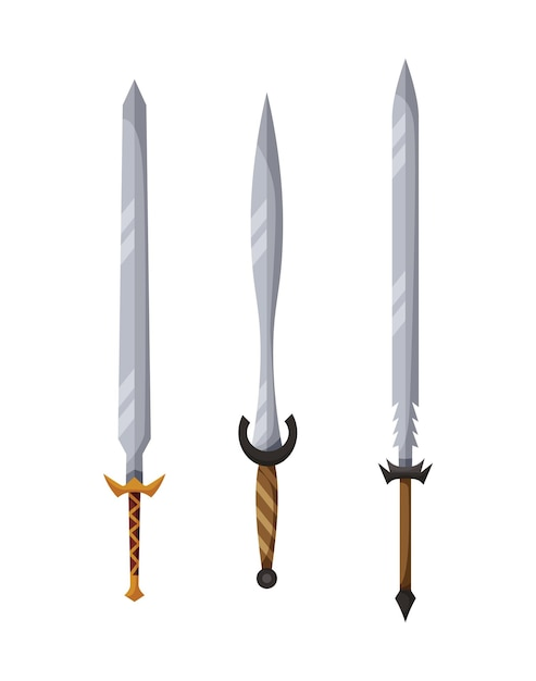 Design della collezione di armi medievali Vettore Premium