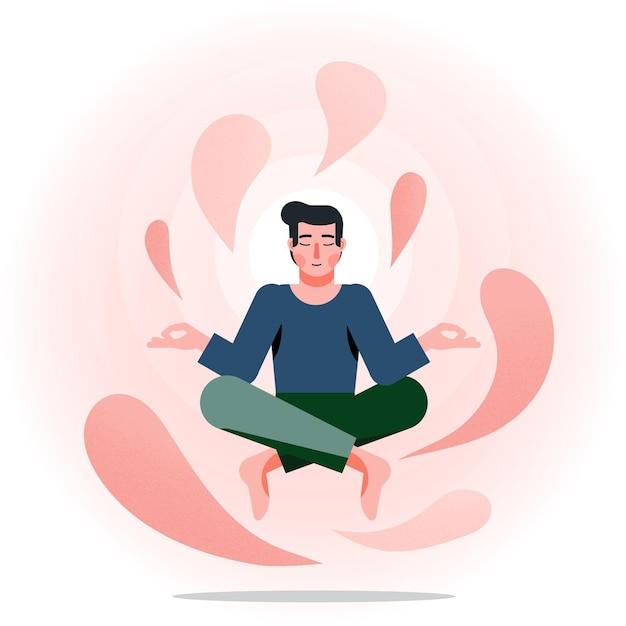 Concetto di illustrazione di meditazione Vettore Premium