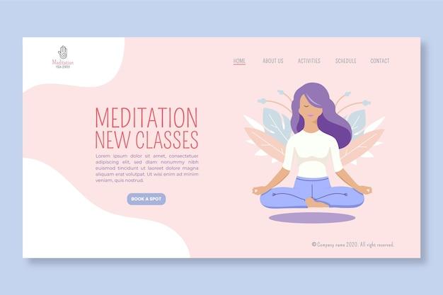 Pagina di destinazione della meditazione e della consapevolezza Vettore Premium