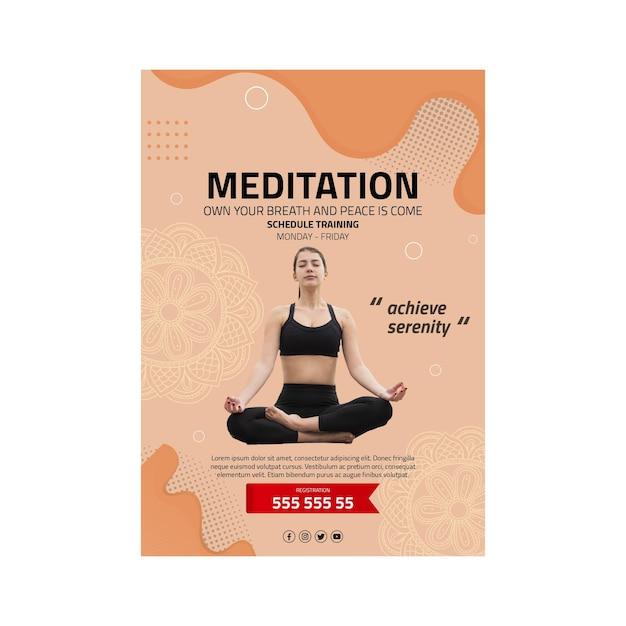 Poster di meditazione e consapevolezza Vettore Premium