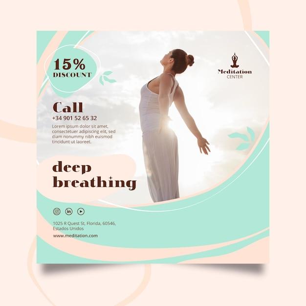 Modello di poster di meditazione Vettore Premium