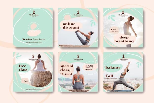 Modello di post social media meditazione Vettore Premium