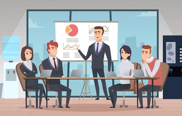 Interno dell'ufficio riunioni. sala conferenze di affari con persone manager che lavorano all'interno del fumetto del team Vettore Premium