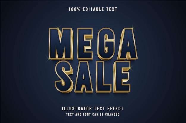 Mega vendita, 3d testo modificabile effetto viola gradazione oro giallo ombra testo stile Vettore Premium