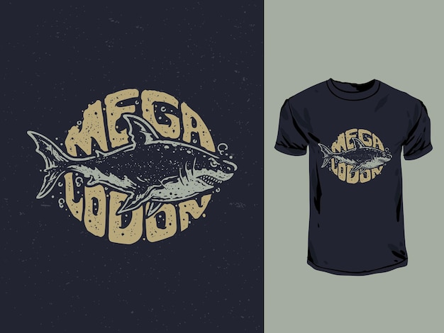 Tipografia dello squalo megalodon con un'illustrazione della maglietta in stile vintage Vettore Premium