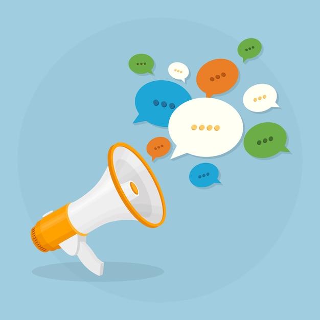 Megafono sullo sfondo. bullhorn con fumetto bianco. social media, concetto di marketing digitale. Vettore Premium
