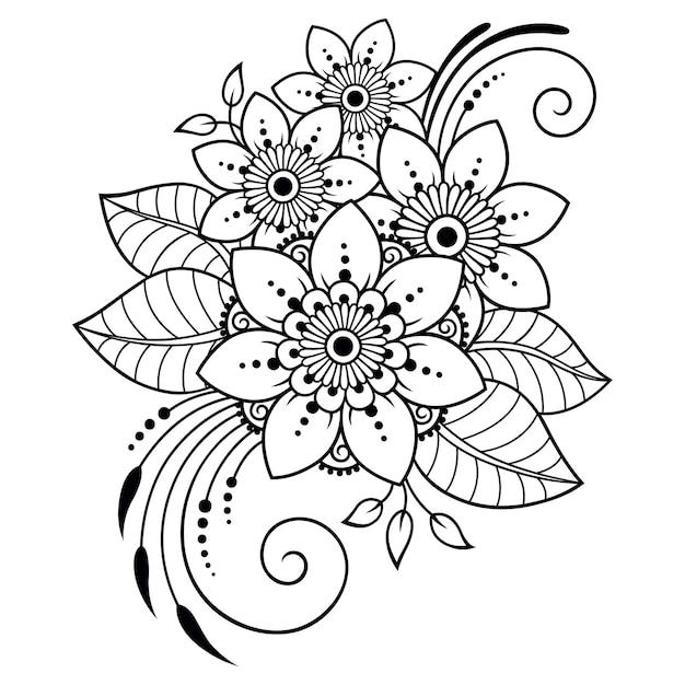 Motivo floreale mehndi e mandala per disegno e tatuaggio all'henné. Vettore Premium