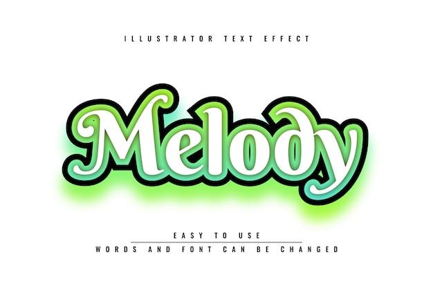 Melodia - design modificabile con effetti di testo Vettore Premium