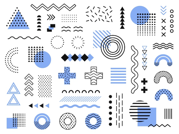 Elementi di memphis. grafica retrò funky, design di tendenze anni '90 e collezione di elementi di stampa geometrica vintage Vettore Premium