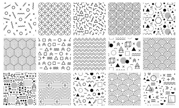 Motivi geometrici di memphis. modelli astratti senza cuciture del labirinto, modello di memphis di stile, insieme geometrico dell'illustrazione della priorità bassa di doodle modello alla moda senza cuciture geometrico di memphis Vettore Premium