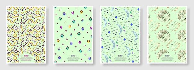 Copertine stile memphis, sfondo senza cuciture disponibile nel pannello campioni Vettore Premium