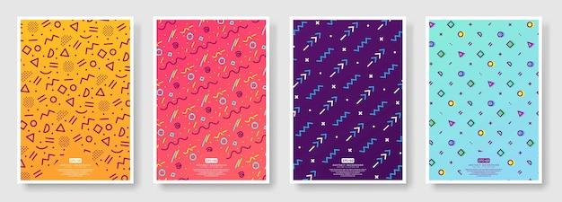 Set di poster stile memphis, fondo senza cuciture disponibile nel pannello campioni Vettore Premium