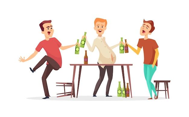 Gli uomini bevono birra. personaggi di amici ubriachi. festa della birra oktoberfest. amici maschi in bar o pub Vettore Premium