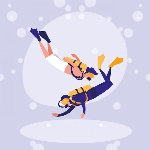 Uomini che praticano il personaggio di avatar subacqueo Vettore Premium