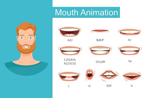 Sincronizzazione labiale maschile, pronuncia dell'alfabeto, diagramma della bocca del fonema. Vettore Premium