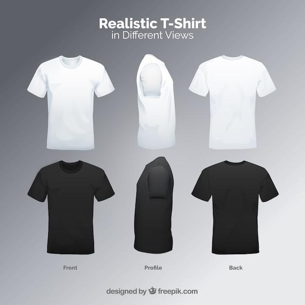 T-shirt da uomo in diversi punti di vista con uno stile realistico Vettore Premium