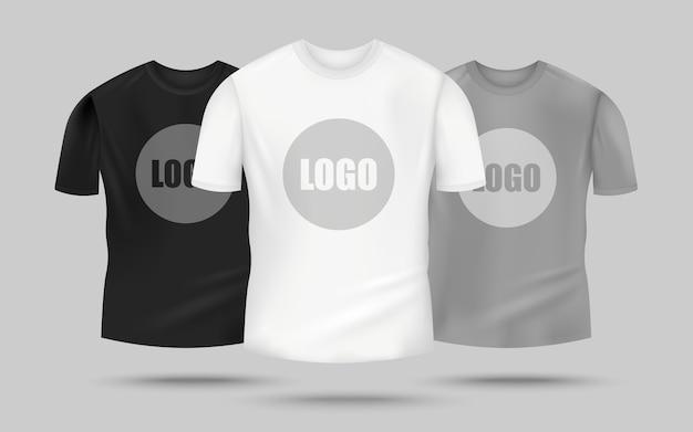 T-shirt da uomo in colore nero, bianco e grigio con modello di logo al centro, abbigliamento realistico per la merce - Vettore Premium