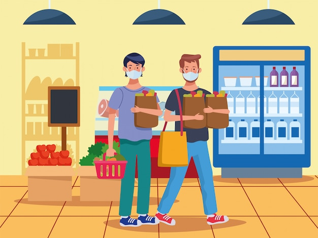 Uomini lo shopping nel supermercato con la maschera Vettore Premium