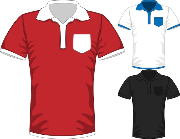 Modelli di design polo t-shirt manica corta da uomo in tre colori Vettore Premium