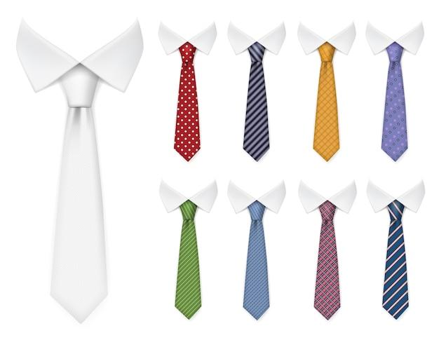 Cravatte da uomo. gli articoli in tessuto per guardaroba maschile stile elegante legano diversi colori e trame collezione di mockup realistici vettoriali. tessuto in tessuto, illustrazione di cravatta accessorio abbigliamento eleganza Vettore Premium