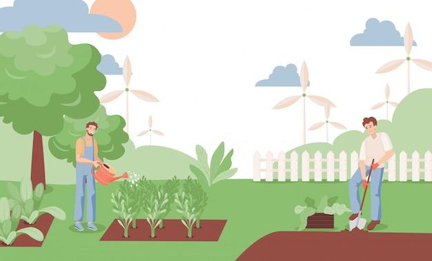 Piante di innaffiatura degli uomini e scavare l'illustrazione del giardino. gli agricoltori che lavorano in giardino in estate. Vettore Premium