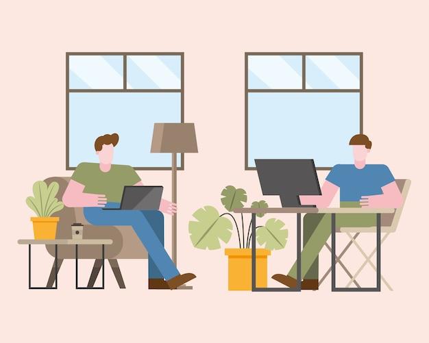 Uomini con laptop e computer che lavorano da casa design del tema del telelavoro illustrazione vettoriale Vettore Premium
