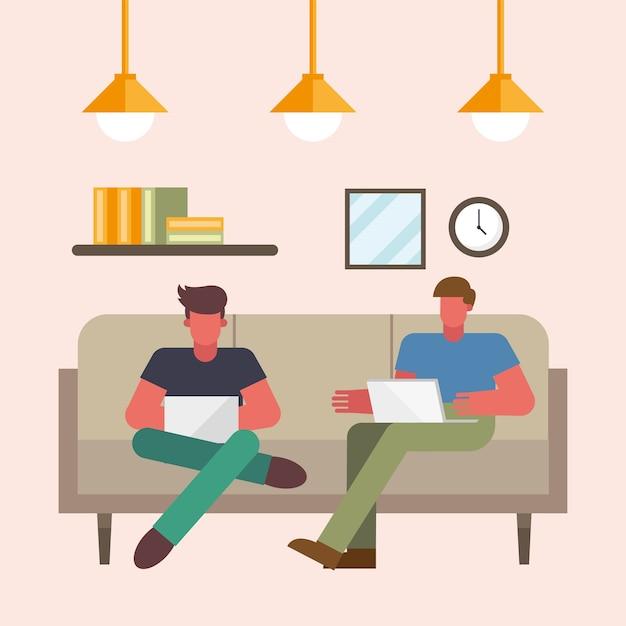 Uomini con laptop lavorando sul divano da casa design del tema del telelavoro illustrazione vettoriale Vettore Premium
